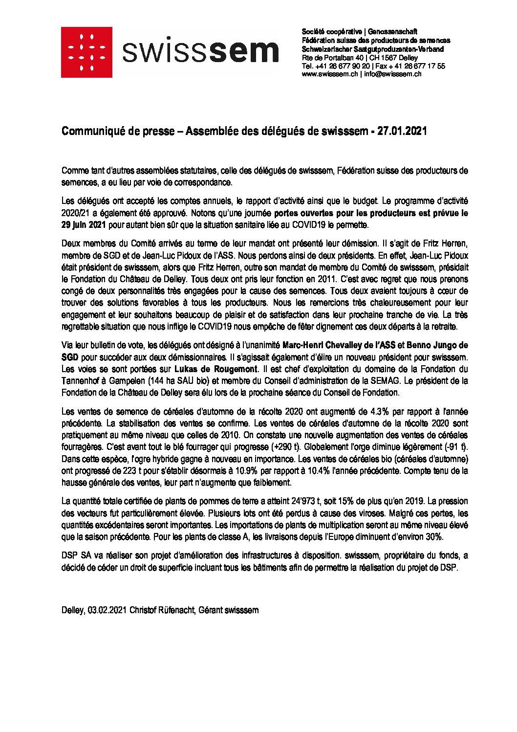 2021-02-03 Communiqué de presse AD swisssem