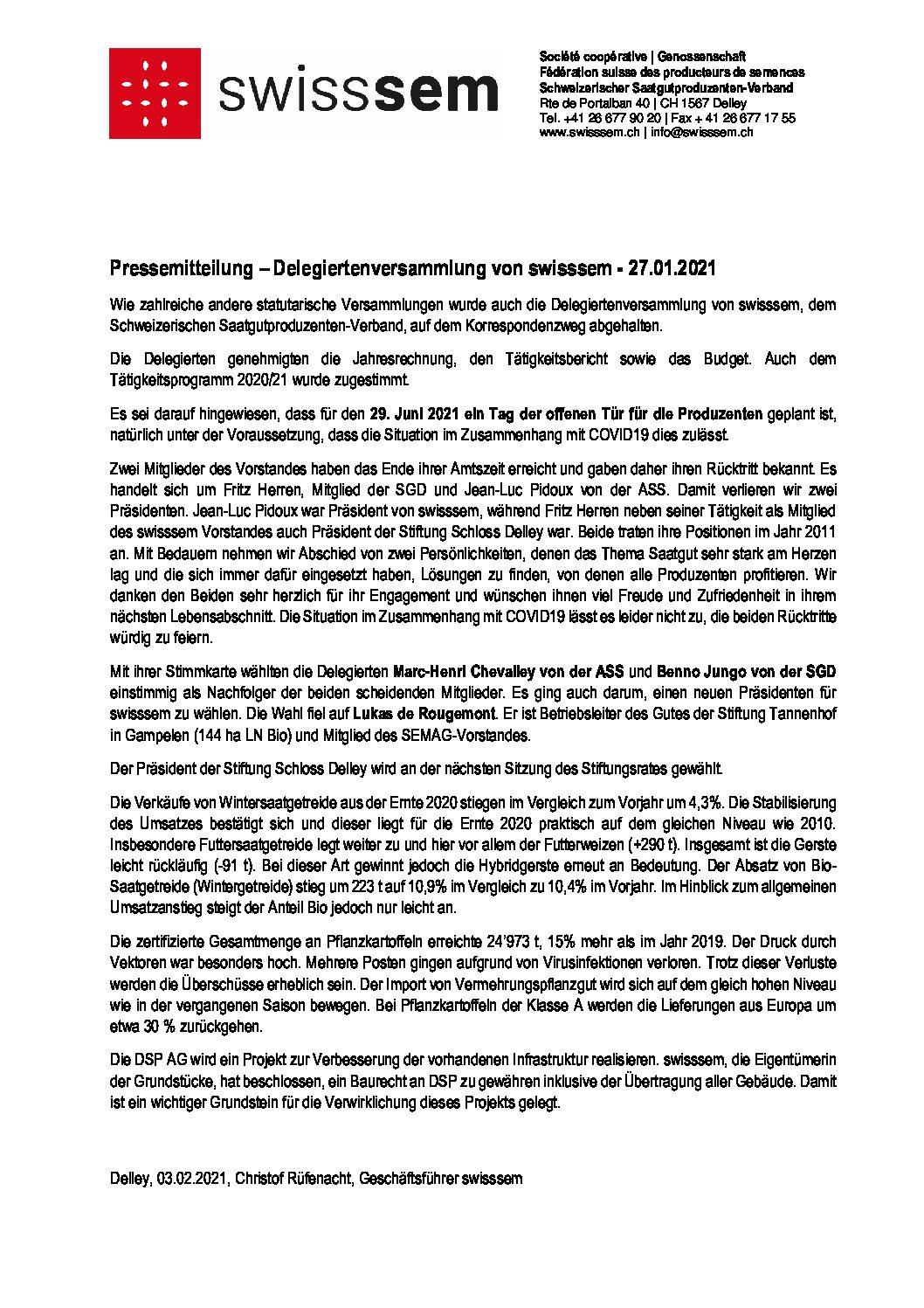 2021-02-03 - Pressemitteilung DV swisssem